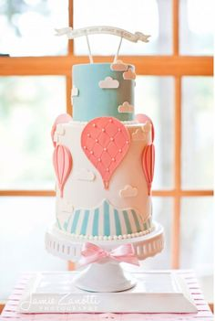 Hot Air Balloon Cake >> This is our theme for the baby room! Who can make this cake for me??