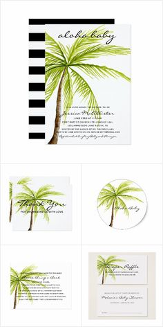 Aloha Baby Palm Tropical Baby Shower Collection: Aloha Baby Palm Tree Tropical Island Beach Baby Shower Collection