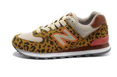 95f950579f2a New Balance 574 Leopard Print edition Orange marron Gris Femme Chaussures
