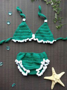 Bikini de ganchillo para niñas ganchillo traje de por Gaborylia