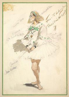 Costume Design for 'Fourth Ballet Girl (Fraülein Hochspitz)' (Short White Dress)