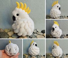 Sulphur crested Cockatoo, needle felted wool ball by Linda Brike on flickr - check Linda's photo stream , she has wonderful work