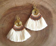 Tassel Fan Earrings Festival Tassel Earrings Cream Tassle #wholesalejewelry