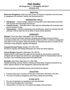 restaurant management resume sample httpexampleresumecvorgrestaurant management