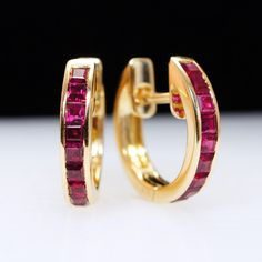 Vintage Ruby Huggie Hoop Earrings - 18k Yellow Gold from Jamie Kates Jewelry Collection at RubyLane.com