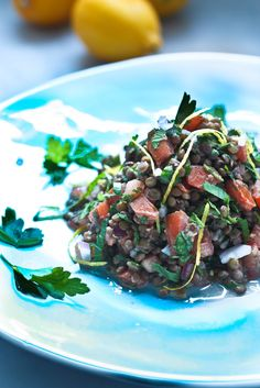 This Lentil Tabouli Salad is full of Middle Eastern flavors! Vegan & Gluten free, this hearty salad keeps for several days, perfect for midweek lunches or potlucks! Lentil Recipes, Vegetarian Recipes, Healthy Recipes, Whole30 Recipes, Yummy Recipes, Dinner Recipes, Cooking Recipes, Tabouli Salad Recipe, Salad Recipes