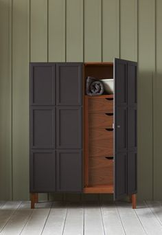 """The word """"armoire"""" elicits thoughts of estate sales, musty wood, and ornately carved detailing. It's easy to source a traditional armoire if that's your ga Bedroom Furniture, Painted Furniture, Home Furniture, Furniture Design, Furniture Inspiration, Home Interior, Tall Cabinet Storage, House Design, Door Design"""
