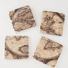 Vintage Map Coasters, Set of 4 | World Market