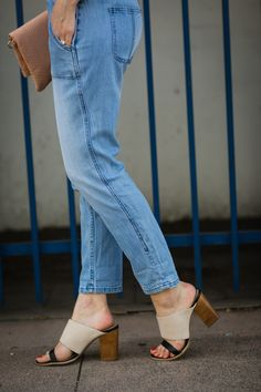 Tapered overalls with two-tone mules on M Loves M @marmar