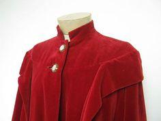 Vintage 1950s red velvet cape coat. velvet cloak.