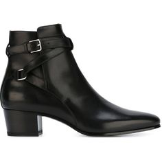Saint Laurent 'Blake' ankle boots ($945) ❤ liked on Polyvore featuring shoes, boots, ankle booties, black, chunky-heel ankle boots, short boots, black ankle booties, leather boots and low heel booties