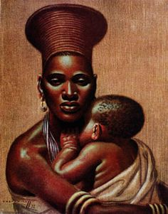 Preserving Our Image: Mother and Child by artist Vladimir Tretchikoff. Arte Black, Afrique Art, Style Africain, South African Artists, Black Artwork, Madonna And Child, Afro Art, Black Women Art, African American Art