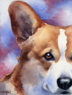 WELSH CORGI Dog Art Print Signed by Artist DJ by k9artgallery,