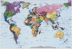 Brewster Home Fashions Komar World Map 4-Panel Photomural