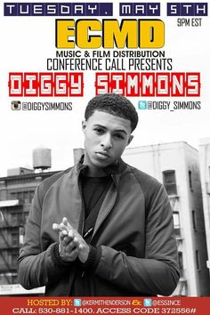 TUESDAY @ 9pm e.s.t. #ECMD #Music #Entertainment Conference call Call 530-881-1400 Caller access code 372556# www.CodaGrooves.com #DiggySimmons