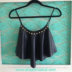 Studded Crop Top Handkerchief Tank - Black Faux Leather - Silver, Black, or Gold Studs by ShopChicStud