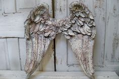 Huge white angel wings sculpture shabby chic unique detailed feathered wall decor from Anita Spero Design