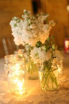 love the candles in the mason jars