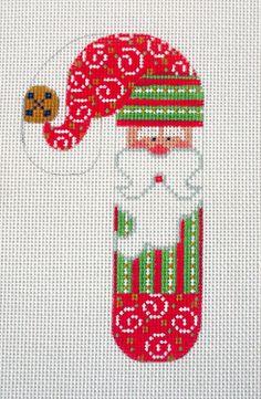 Danji Designs Candy Cane Santa w/ Swirls Handpainted Needlepoint Canvas Ornament