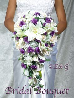 Complete Bridal Bouquet Package BEAUTIFUL PRINCESS PURPLE silk flowers cascade bridesmaid bouquets groom boutonniere corsage