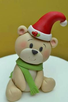 https://www.facebook.com/sweetpart?bookmark_t=page                                                                                                                                                                                 More Cake Topper Tutorial, Christmas Cakes, Christmas Hat, Christmas Cake Topper, Hygge Christmas, Christmas Holidays, Christmas Ideas, Polymer Clay Ornaments, Polymer Clay Christmas