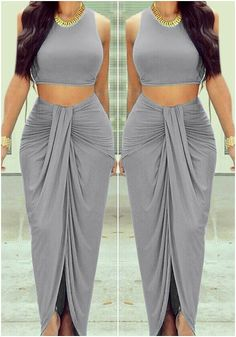 This dark grey wrap maxi skirt features an elastic waistline with ruched detailing. Get that gypsy look by pairing this wrap maxi skirt with a headpiece, a crop top an braids. Indian Designer Outfits, Indian Outfits, Designer Dresses, Stylish Sarees, Stylish Dresses, African Fashion Dresses, Indian Fashion, Look Fashion, Fashion Outfits