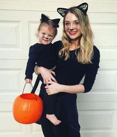 My Hubby wanted Lana to be a superhero like Catwoman, so we compromised.she was a Kitty for Halloween. I had to join her. Toddler Cat Costume, Baby Cat Costume, Mother Daughter Halloween Costumes, Family Themed Halloween Costumes, Toddler Girl Halloween, Baby Girl Halloween Costumes, Halloween 2019, Halloween Ideas, Halloween Cat