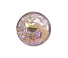 Czech Glass Light Pink w/ Gold Peacock Button 22mm