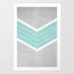 Buy Teal and White Chevron on Silver Grey Wood Art Print by Tangerine-Tane. Worldwide shipping available at Society6.com. Just one of millions of high quality products available.
