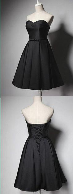 Vintage Simple Black A-Line Homecoming Dress,Short Prom Dresses,Cocktail Dress,Homecoming Dress,Graduation Dress