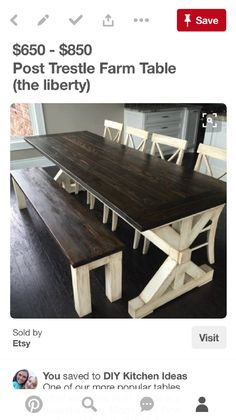 7 Ft. Farmhouse Table With 4 X 4 Legs, 6 Ft. Bench U0026 5 Handmade Ladder Back  Chairs ~ Simply Southern Home Decor | Farmhouse Style Dining | Pinterest ...