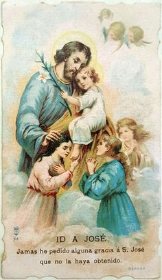 San José. Tarjeta antigua de Jose. Catholic Prayers, Catholic Art, Catholic Saints, Roman Catholic, Jesus Mary And Joseph, St Joseph, Catholic Pictures, Vintage Holy Cards, Jesus Christ Images
