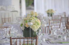 #wedding centrepiece made of green viburnum, white hydrangea, cream roses & ivory freesia. Celebrations Ltd | Cayman Weddings & Events