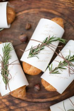 Autumn Woodland Wedding at a Country Manor fresh loaves of rosemary bread with menus Wedding Menu, Wedding Table, Wedding Favors, Wedding Decor, Woodland Wedding, Autumn Wedding, Deco Table Champetre, Party Decoration, Table Decorations