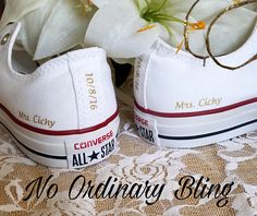 Custom Wedding Converse Low Backs Heels Personalized