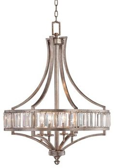 "Arts and Crafts - Mission Crystal Carousel Silver Leaf 24"" Wide Chandelier - traditional - chandeliers - Lamps Plus"