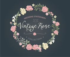 Vintage Wedding invitation floral wreath clipart collection: Rose chalkboard, hand drawn wreaths, flowers / Vector, PNG, JPG / CP0038