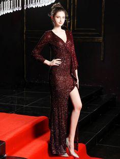 Fleepmart Burgundy Full Sleeve Evening Dress Sequinde Formal Dress Sexy V-neck Prom Gown Elegant Evening Gowns for Women Gold