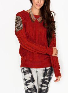 studded leopard sweater