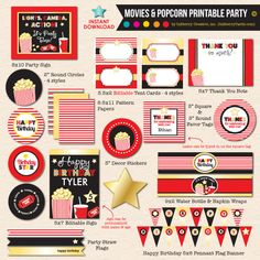 INSTANT DOWNLOAD, DIY PRINTABLE Movies & Popcorn Birthday Party package by Inkberry Creative, Inc.! This party package coordinates with our popular Movies & Popcorn party invitation. Many of the items