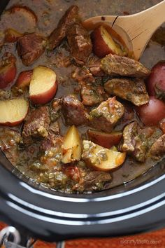 Slow cooked Latin beef stew with baby red potatoes and Latin seasonings.