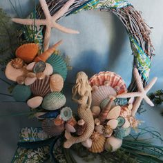 Mermaid wreath_beach wreath_beach by CarmelasCoastalCraft on Etsy, $40.00