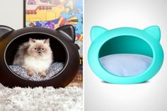 12 Modern Homes for Cool Cats - These would be cool if I thought my babies would actually use them. Cute Little Kittens, Cute Cats, Cat Daycare, Diy Cat Bed, Cat Beds, Kitten Accessories, Exotic Cats, Exotic Fish, Cat Tree House
