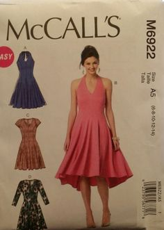 McCall's Pattern M6922 Misses' Dresses 4 Styles sizes 6-14 NEW Free Shipping