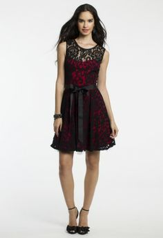 Short Two-Tone Lace Dress with Ribbon Belt from Camille La Vie and Group USA