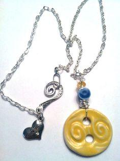 Ceramic button necklace. $15