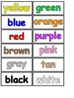 colour name printable Kids English, English Lessons, Learn English, Ingles Kids, Teaching Colors, Kindergarten Math Worksheets, Teaching Time, English Activities, English Classroom