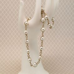 Sarah Coventry Wrapped Faux Pearl Necklace & Bracelet Set