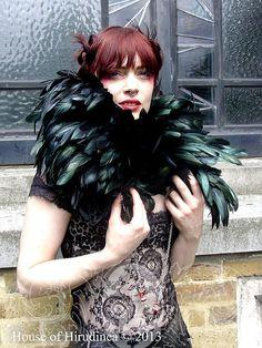 Gothic black feather collar ruff shrug dark fashion