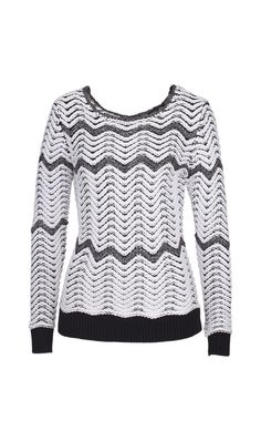 ZAG white and black heavy gauge sweater    Etcetera Holiday 2013 Collection